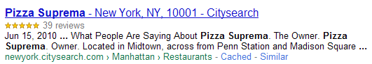 Google reviews in rich snippets